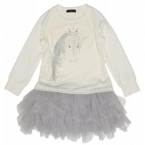 Kate Mack 506UDC/UDE Ivory And Silver Unicorn Dress  Ivory and grey tulle embroidered unicorn dress. The top half is composed of a stretchy jersey fabric with a metallic silver unicorn featuring gems and a threaded mane. The tiered tulle skirt gives a tutu look and the metallic stitching finishes the dress.  Features:  58% cotton jersey, 37% polyester, 5% spandex Tulle: 100% polyester Machine washable inside out at 30C