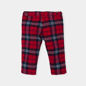 Tutto Piccolo 5033W18 W01 White Shirt  And Trouser Set 2 Piece white shirt and tartan trouser set. The shirt fastens with navy buttons with a navy trim to either side. There are also navy buttons and trim around the cuffs. The tartan trousers have a button fastening and an adjustable waist for the perfect fit and comfort.  Features: Shirt: 57% Cotton, 43%Viscose Trousers: 97% Cotton, 3% Elastane Machine washable at 30C