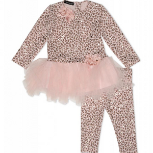 Kate Mack 519AMB Pink Tunic And Legging Set  Pink cheetah print top and legging set, featuring floral appliqué flowers to both the waistline and neckline. The skirt to the hem is fully jersey lined and the tulle material gives a tutu effect.   Features:  Cheetah printed design Long sleeves TOP Upper: 54% Cotton, 40% Polyester, 6% Spandex Lower: 100% Polyester LEGGINGS 54% Cotton, 40% Polyester, 6% Spandex Machine washable at 30C