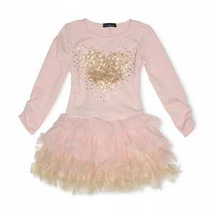 Kate Mack 524MHB/MHC Pink And Gold Heart Dress  Long sleeve pink dress with a scoop neckline and sequin heart to the bodice. The layered pink and gold tulle skirt gives a tutu effect, and finished with a tie to the reverse.   Features:  Long sleeves 56% Cotton, 40% Polyester, 4% Spandex Machine washable at 30C
