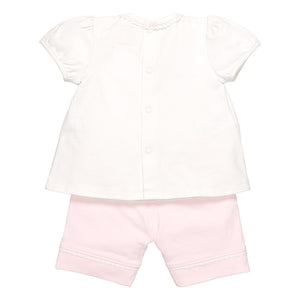 Emile et Rose Pale Pink 2 Piece Stretch Jersey Flower Embroidered Top And Shorts