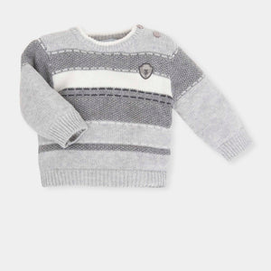 Tutto Piccolo 5716W18 S00 Grey Jumper Round neck grey and ivory stripe knitted jumper with a Tutto Piccolo logo badge on the chest. Features:  75% Cotton, 20% Polyamide, 5% Angora Wool Machine washable at 30C