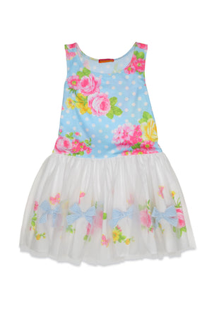 Kate Mack and Biscotti Blue Pink and White Drop Waste Dress