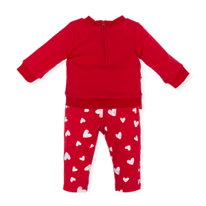 Agatha ruiz de la prada Lovely red long sleeve set which has beautiful heart details to leggings and logo to top.