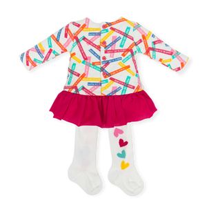 Agatha ruiz de la prada dress and tights with multicoloured logo to top half and stunning bright pink pleated frill to the bottom.