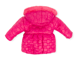 Agatha ruiz de la prada  fleece lined coral parka with bubble details to fabric. Faux fur around the hood.