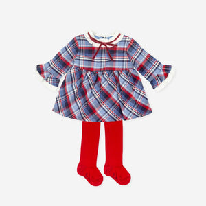 Tutto Piccolo 7241W19 Navy & Red Checked Dress and Tights