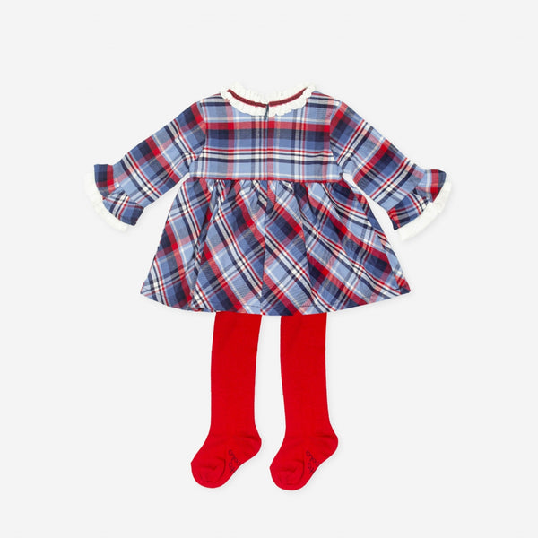 Tutto Piccolo 7241w19 Navy Amp Red Checked Dress And Tights