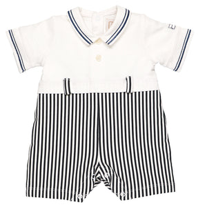 Emile et Rose Pale Blue Jersey Romper With Stripe Lower