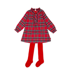 Tutto Piccolo tartan long sleeve dress and red tights 9236W20 AW20