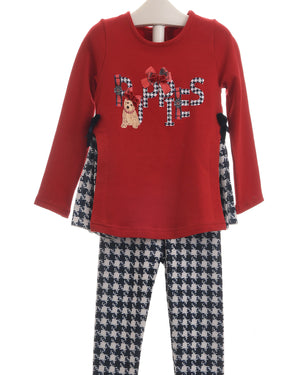 Balloon Chic Red Puppies Top and Dogtooth leggings 2-Piece Set 92BCE542 AW19