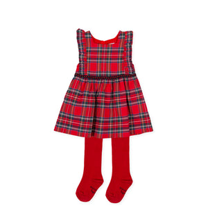 Tutto Piccolo tartan pinafore and ivory blouse 9039W20 AW20