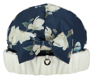 A dee fleece lined hat to match Jenna coat with flower and bird details