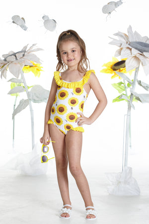 NEW A Dee Britney S192800 Bright White Sunflower Swim Costume