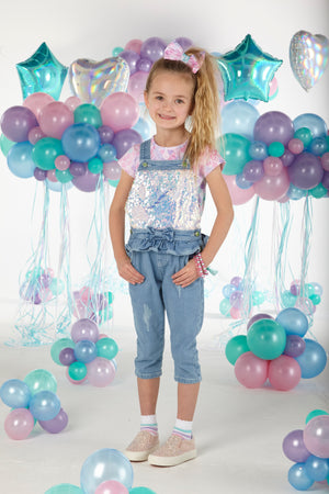 A Dee S203512 Candice Sequin denim dungaree Set SS20