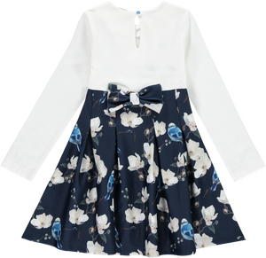 A dee Flower and bird patteren jersey and neoprene skirt dress with bow details to front and back