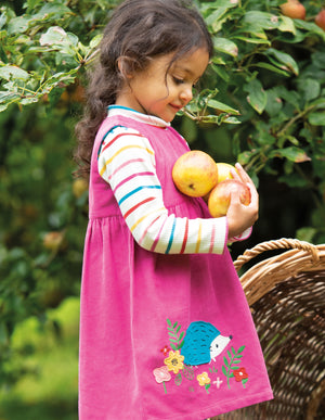 Frugi Lily Cord Dress Foxglove/Hedgehog