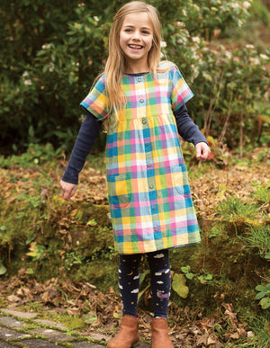 Frugi Romily Reversible Dress, Chambray/Horse