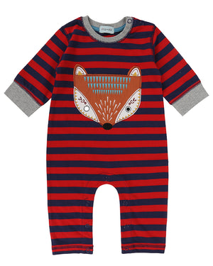 Lilly and Sid Applique Stripe Playsuit Foxy.