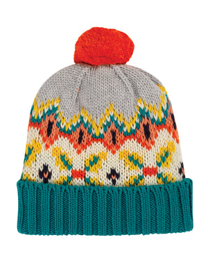 Frugi Blizzard Bobble Hat Tin Roof FairIsle AW20