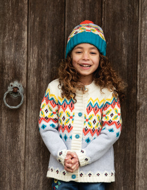 Frugi Blizzard Bobble Hat, Tin Roof FairIsle