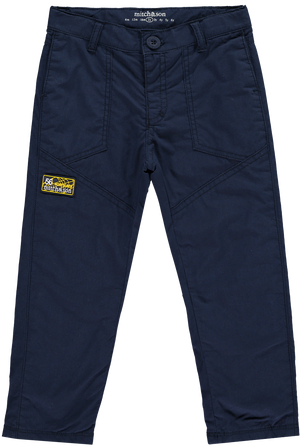 Mitch And Son Sanchez Poplin Trouser  Navy fully jersey lined trousers featuring rubber Mitch branding to one leg and a button fastening to the waist.  Features:  65% polyester, 35% cotton Machine washable at 40C
