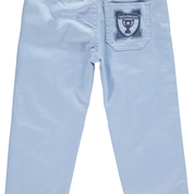 Mitch And Son Silva Canvas Trouser  Pale blue stretchy cotton trousers. They feature front pockets, belt loops and a button fastening, with an adjustable waist for the perfect fit. The back pocket is complete with a rubber Mitch logo badge.   Features:  98% cotton twill, 2% elastane (stretchy) Machine washable at 30C Adjustable waist Single button fastening Slim fit