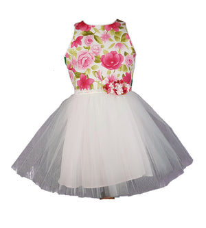 Daga White Tulle Roses Dress