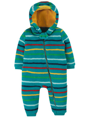 Frugi Ted Fleece Snuggle Suit Tobermory Rainbow AW20