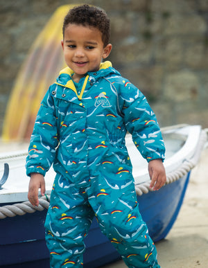 Frugi Explorer Waterproof All In One Rainbow Whales AW20