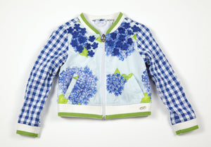 Adee Josie Hydrangea and blue gingham bomber jacket