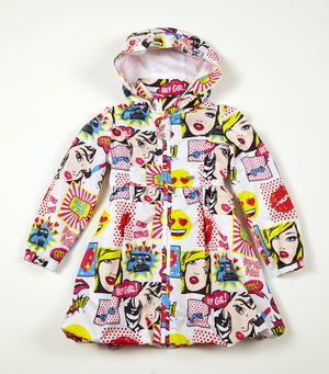 Adee Jordan pop art print jacket with hood