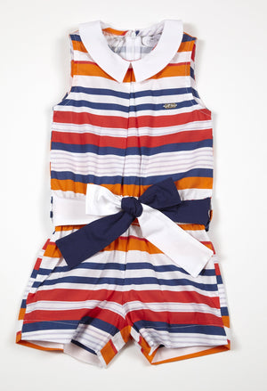 Adee Prinny orange white and navy riviera playsuit