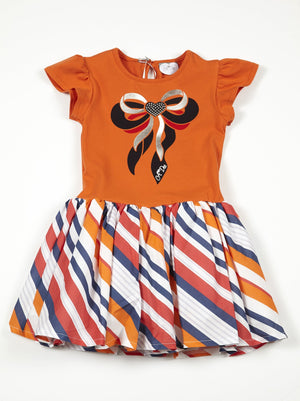 Adee orange bow riviera dress with stripy skirt