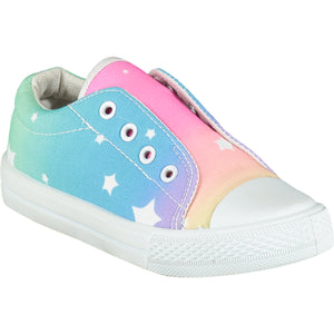 A Dee Laceless Rainbow Printed Canvas Trainer SS21