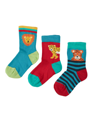 Frugi Little Socks 3 Pack Big Cat SS21