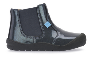 Start Rite First Chelsea Boot Gunmetal  Patent gunmetal Chelsea boot. Features comfortable soft padding to the ankles and bumpers surrounding the shoe. Soft flexible soles allow the feet to naturally develop and keep feet fresh.