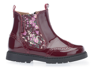 Start Rite Chelsea Boot Wine Patent/Floral  Wine Patent Chelsea boot with stylish floral elastic panel to the side of the boot and brogue detailing. There is a side zip fastening to create further ease when putting the boot on. The sole is nice and flexible for comfort.   Features:  Upper: Leather Lining: Leather Sole: Other materials