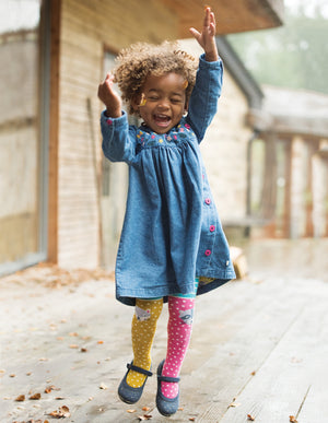 Frugi Fun Knee Tights Hotchpotch/Character Knees