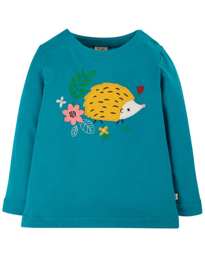 Alana Cosy Applique Top, Tobermory Teal/Hedgehog