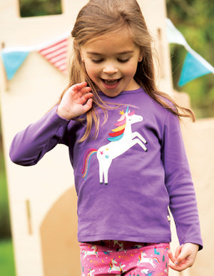 Frugi Applique Top,  Thistle/Unicorn