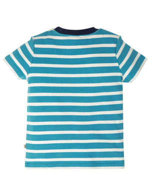 Frugi Motosu Blue Stripe Sid Applique T-Shirt SS20