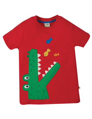 Frugi Carsen Applique T-Shirt Red/Croc SS21