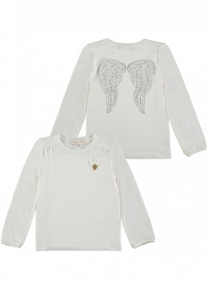 Angels Face  super soft long sleeve top that featuring the signature angel wings detail to the back. The sleeves are finished in a cuff style for a comfortable fit. Angel Face charm and bow complete the look.