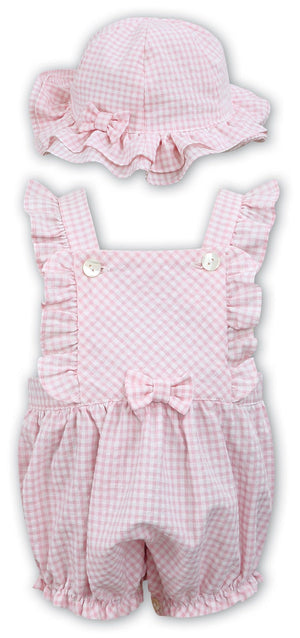 Dani D09306 Pink Gingham Romper and Hat SS20