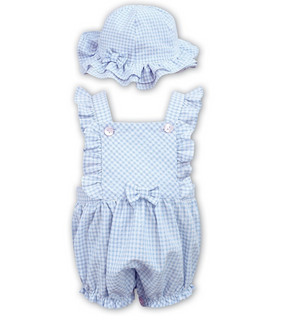 Dani D09306 Blue Gingham Romper and Sun Hat SS20