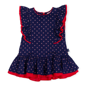 Tutto Piccolo 6241S19 B07 Navy And Red Dress