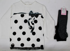 Sarabanda Black and White Top and Tights Set