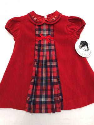 Sarah Louise Red Dress with Tartan Details