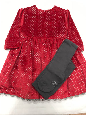 Tutto Piccolo `Red dress With Silver details